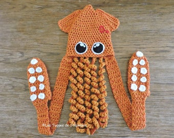 Squid hat, scarf and mittens LINED with fleece CUSTOM crocheted, tentacle scarf, octopus animal hat