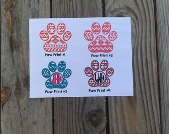 Aztec Paw Print Vinyl Decal