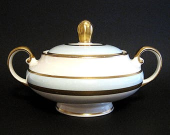 Vintage Pope Gosser Sugar Bowl with Lid White Gold Mint Green Rare