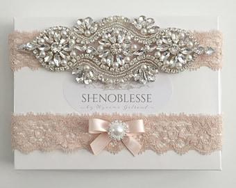 LEILA ~ Wedding garter-country garter-champagne garter-lace garter-champagne garter-rustic garter-crystal garter-vintage garter