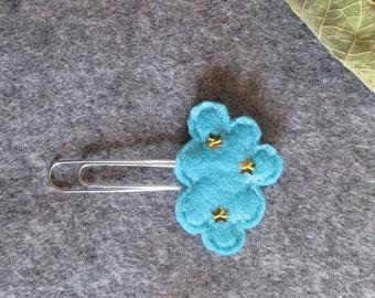Cloud paper clip; Felt paper clip; Planner accessories; Starry cloud planner clip; Stocking stuffers; Bookmark, Felt bookmark; gift under 3.