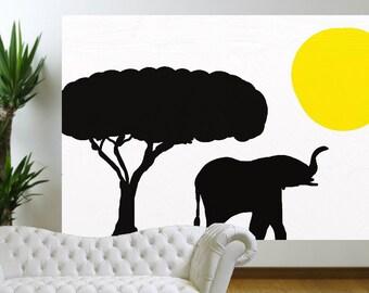 Elephant Painting Jungle Painting Safari Painting Nursery Painting Large Painting Sunset Painting Landscape Painting Yellow sunset African