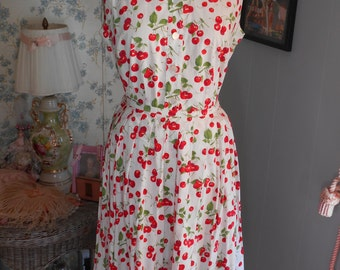 Adorable 1950's Cotton Top and Skirt Set with Cherries very Cheery