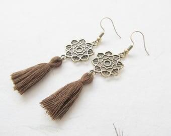 Mandala earrings, yoga earrings, bronze earrings, tassel jewelry