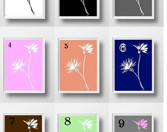 flower print floral wall art Abstract botanical Watercolor painting whimsical flowers illustration drawing decor minimalist pink navy coral