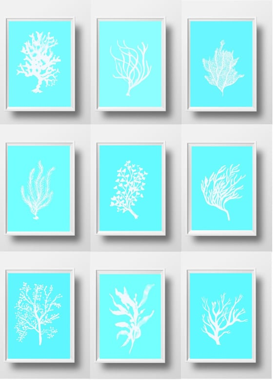 Blue patchwork prints set of 9 wall