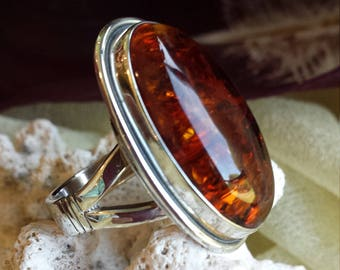 Sterling silver amber ring, size 8