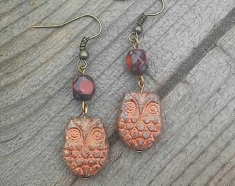 Owl Earrings, Autumn Earrings, Halloween Earrings, Nature Earrings Gift, Everyday Earrings, Nature Earrings, Bird Earrings, Fall Earrings