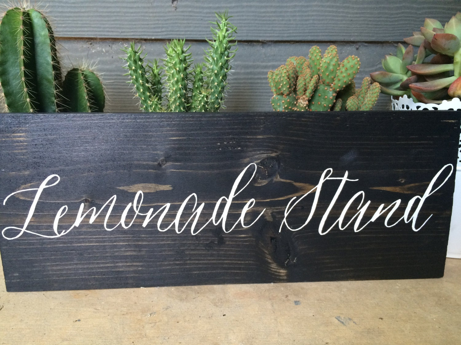 Lemonade stand rustic wooden wedding sign for Rustic lemonade stand