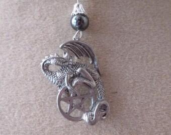 dragon Pentagram hematite pendant