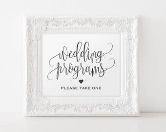 Wedding Program Sign, Ceremony Program Sign, Please take one sign, Bliss Paper Boutique, PDF Instant Download #BPB203_82