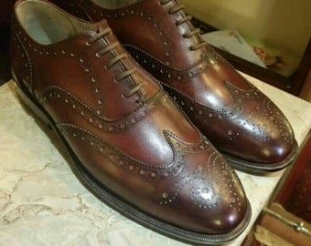 Burgundy Wingtips, Men Oxford Shoes, Leather Wingtips Shoes, Men's Wingtip Shoes, Leather Shoes For Men, Custom Made to Order.