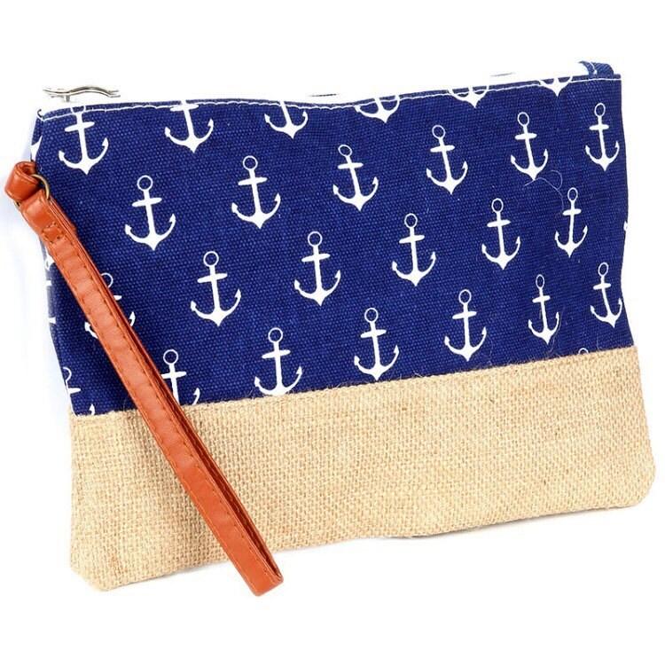 Anchor Wristlet Anchor Clutch Bag Summer Bag Beach Bag Nautical Bag