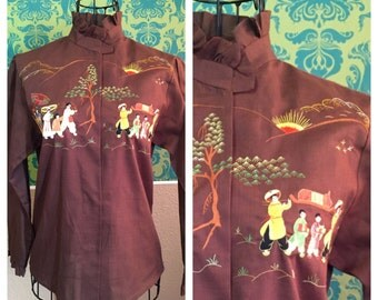 Vintage 1950s Novelty Blouse - Brown Asian Parade Embroidered Shirt - S