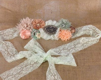 Sea Foam Shabby Maternity or Bridal Sash
