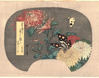 "Japanese Ukiyoe, Woodblock print, Hiroshige, ""Chrysanthemums and Butterfly"""