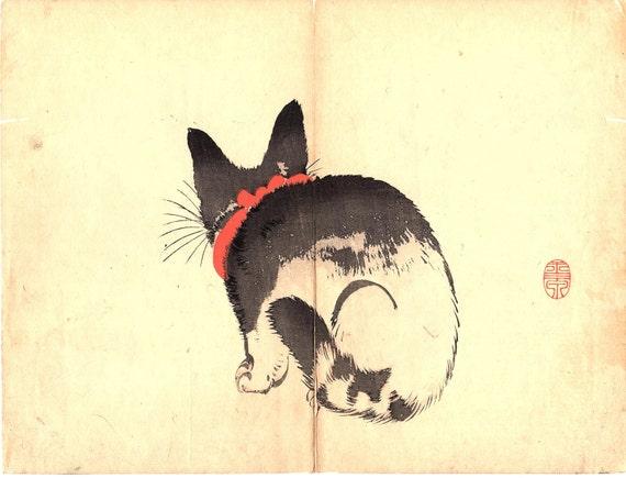 "1891, Japanese antique woodblock print, Mochizuki Gyokusen, ""Cat"""