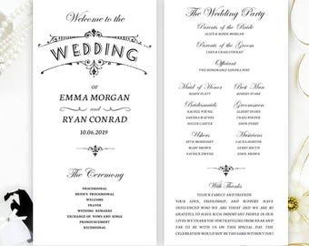 Vuntage Black And White Wedding Programs