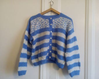 Vintage made hand Wool Sweater striped blue and white wool vest