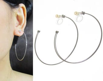 0.9x50mm Statement Large Clip-on Hoop Earrings |26B| Big Bold Hoop Invisible Clip On Earrings, Silver Tone Clip-ons, Trendy Clip Earrings