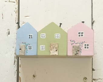Pastel Miniature Street, Little Houses, Mini Wooden Houses, Decorative Houses, Miniatures, Wooden Street, New Home Housewarming Gift, House