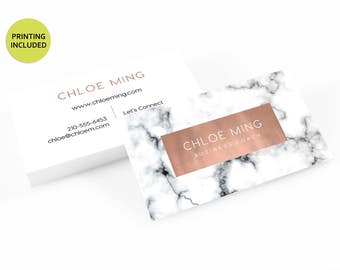 Marble and Copper Printed Business Cards - business cards,business card design,custom business card,cards,printing,hair,makeup,lipsense,lips