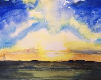 Sunrise painting, sunrise watercolor, watercolor landscape, landscape painting, Sunrise, watercolor painting, Sky painting, Sky watercolor