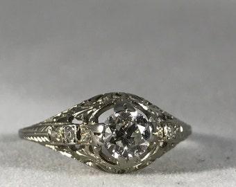 SALE!! 18K White Gold Old European Cut Diamond Engagement Ring