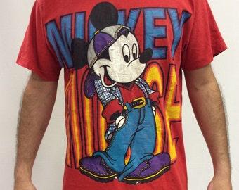 90s Mickey Mouse Hip Hop Sport T shirt