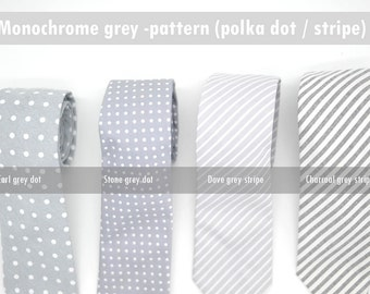 Monochrome grey pattern,neutral neck-tie,white stripe,polka dot theme wedding,groomsmen,men,page boys, ring bearer,neutral grey wedding tie