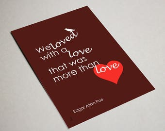 Edgar Allan Poe Printable Anniversary Card. Digital Valentines Card. Instant Download. Geeky Anniversary Card. I Love You Digital Card.