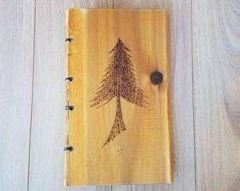 Pine tree wood book, journal, sketch book, coptic stitch, wood burned, upcycled, repurposed wood, books, diary, art, unique gift