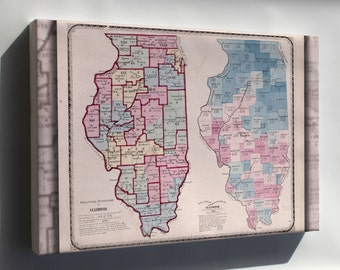 Canvas 24x36; Map Of The Political Divisions Of Illinois 1870