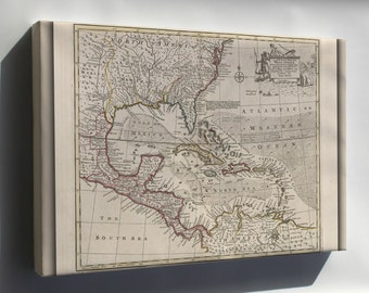 Canvas 24x36; Map Of The West Indies Cuba Florida Mexico 1752