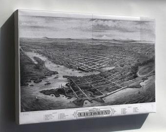 Canvas 24x36; Map Of Victoria, Vancouver Island Canada 1878