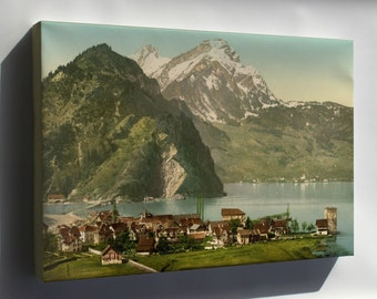 Canvas 24x36; Stanstaad And Pilatus, Lake Lucerne, Switzerland 1890