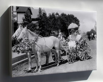 Canvas 24x36; Horse-Drawn Wagon Decorated With Flowers For La Fiesta De Los Angeles (Chs-997) #031715