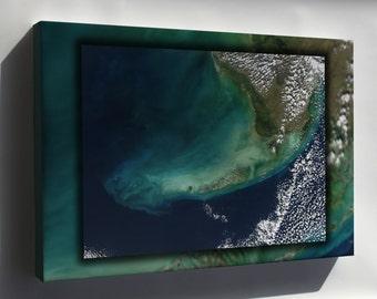 Canvas 24x36; Florida Keys Landsat
