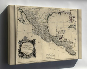 Canvas 24x36; Map Of New Spain Mexico 1776