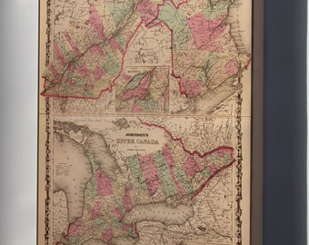 Canvas 24x36; Map Of Ontario And New Brunswick Canada 1862