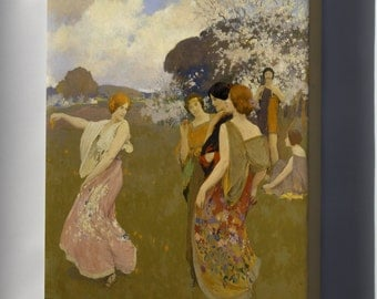Canvas 16x24; Arthur F. Mathews - Spring Dance -