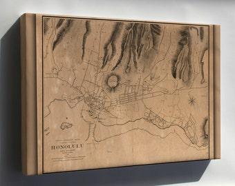 Canvas 16x24; Map Of Honolulu Hawaii 1887