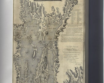 Canvas 16x24; Topographical Chart Map Of Narragansett Bay 1777