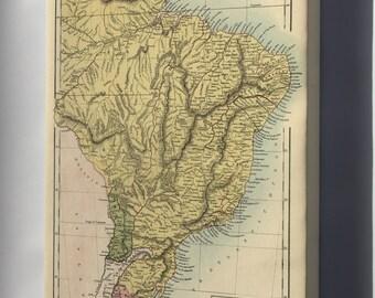 Canvas 16x24; Map Of Brazil, Uruguay, Paraguay & Guayana 1873