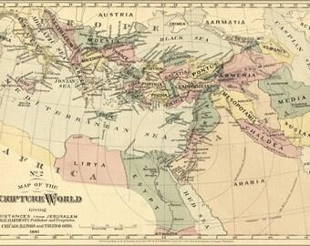 16x24 Poster; Bible Map Israel Jerusalem Middle East 1881