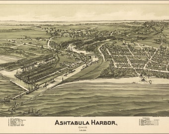 16x24 Poster; Birdseye View Map Of Ashtabula Harbor, Ohio 1896