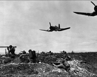 16x24 Poster; Platoons Of Marines With F4U-1D Corsair Planes