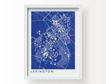 LEXINGTON KENTUCKY Map Print - graphic drawing art poster University Of Kentucky Wildcats