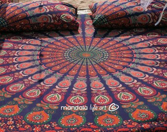 Bohemian Bedroom Decor, Hippie Bed Throw, Mandala Queen Bedding, Boho Bedroom Ideas, College Student Gift