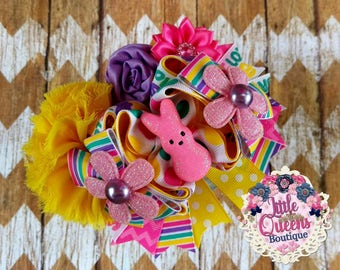 "Easter ""I Love My Peeps"" Deluxe Over The Top Hair Bow"